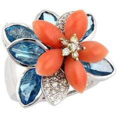 Pre-owned 18K White Gold Diamond Coral & Blue Topaz Movable Flower... ($2,200) ❤ liked on Polyvore featuring jewelry, rings, blue rings, diamond rings, engagement rings, pre owned diamond rings and 18k ring