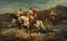 Adolf Schreyer (1828–1899) Arabische Reiter an einer Furt Öl auf Leinwand. 81 x 131 cm.Signiert unten rechts: ad. Schreyer.