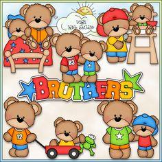Teddy Bear Brothers 1 - NE Marjorie Ann Designs Clip Art : Digi Web Studio, Clip Art, Printable Crafts & Digital Scrapbooking!