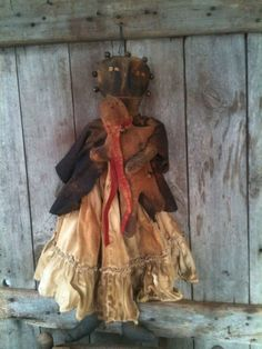 Primitive Black Doll with her gingerbread grubby grungy bells Farmhouse  #NaivePrimitive