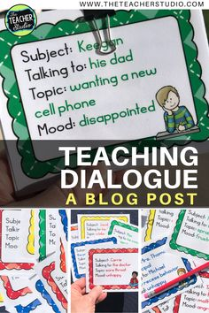 Teaching Dialogue and Why It's So Important! - The Teacher Studio Writing Lessons, Writing Resources, Teaching Writing, Teaching English, Teaching Resources, Teaching Ideas, Fourth Grade Writing, Personal Narrative Writing, Authors