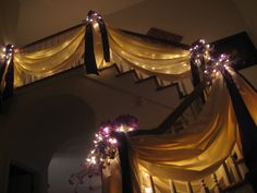 Decorated staircase for my brother's wedding shower at my parents' house. Wedding Stairs, Wedding Reception Backdrop, Tent Wedding, Wedding 2017, Our Wedding, Dream Wedding, Staircase Decoration, Stair Decor, Cute Wedding Ideas