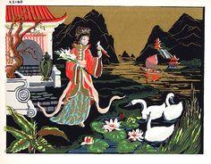 Original Antique 1950s Art Deco Silkscreen Prints for Sale