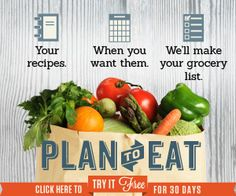 Your recipes, when you want them, shopping lists made for you. Simple. Non processed food! Eat clean