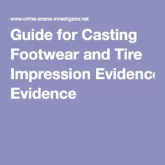 Guide for Casting Footwear and Tire Impression Evidence