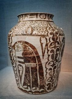 Earthenware Jar Iraq Abbasid Period 10th century CE Photographed at the Smithsonian's Freer Gallery
