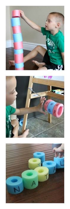 10 activities to do with pool noodles. Practice spelling, counting, patterns, colors, and more!