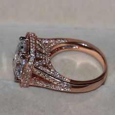 925 Silver Simulated stones Rose gold Ring
