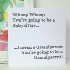 Whoop Whoop Grandparents pregnancy announcement card | Paper & Party Supplies on ArtFire by ItchyAvocado