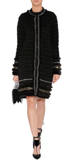 Knit Coat with Mink Trim in Black/Canna Fucile ROBERTO CAVALLI