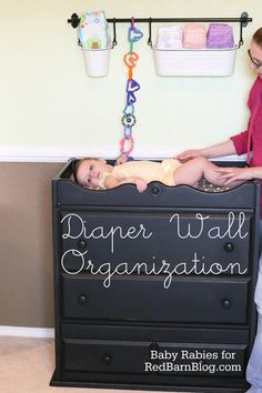 Diaper Wall Organization | BabyRabies for RedBarnBlog.com