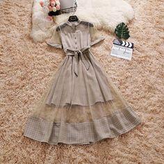 Mock Two-Pieces Gauze Dress Girls Fashion Clothes, Teen Fashion Outfits, Look Fashion, Korean Fashion, Girl Fashion, Fashion Dresses, Clothes For Women, 50 Fashion, Fashion Goth