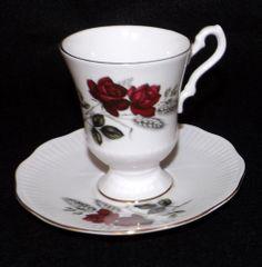 THIS ONE IS RARE! Rosina Demitasse Rose Tea Cup & Saucer fine bone china England