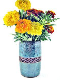 Pottery vase. flower vase, Wedding Gift - 9th Anniversary gift, utensil holder - IN STOCK by Ningswonderworld on Etsy https://www.etsy.com/listing/93574619/pottery-vase-flower-vase-wedding-gift
