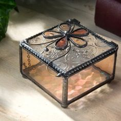 f679d8aa134a Devlin Glass Art glass jewelry box features vintage hammered stained glass  sides with a colorful amber and champagne flower on the lid.