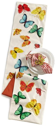 Pier 1 Watercolor Butterfly Table Runner instantly makes a room more fanciful
