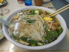 Vegetarian Pho (Vietnamese Noodle Soup) from Food.com. Omit the seitan, soba or miracle   noodles in place of rice noodles