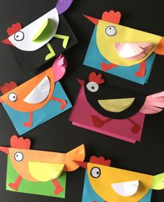 Easter Arts And Crafts, Paper Crafts For Kids, Paper Crafts Origami, Paper Crafting, Chicken Crafts, Kindergarten Art Projects, Chickens And Roosters, Art N Craft, Spring Art
