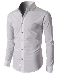 Doublju Mens Dress Shirts With Gold Pointed Collar And Gold Button Detail Syaoran, Point Collar, Shirt Dress, T Shirt, Chef Jackets, Slim, Mens Fashion, My Style, Mens Tops