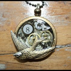 Altered Steampunk Style pocket watch pendant