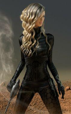 hunter of the future, sci-fi girl, futuristic suit, cyberpunk, science fiction, girl warrior, weapon, gun, black clothing Background idea!