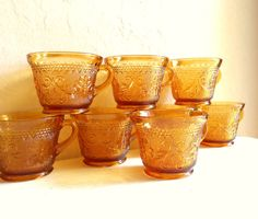 Set of 8 Matching Amber Glass Coffee Cups by VintageNChic on Etsy, $28.50