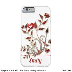 Elegant White Red Gold Floral Leaf Barely There iPhone 6 Case