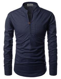Mandarin Slit Linen Shirt