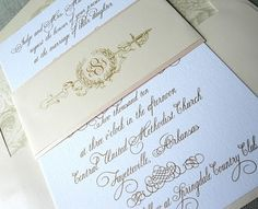 "Sarah was enamored with the classic gold script of a signature Sincerely Yours invitation. We incorporated her wedding pallet of warm ivory and a blushy barely-pink in the two-layer paper sash. The paper sash features a custom wedding emblem that is so very ""Sarah and Jay"". With its traditional interlocking monogram in the center of a formal crest and sword, their wedding emblem couldn't be any more perfect for a full military ceremony complete with the arch of sabers. (I know, don't you…"