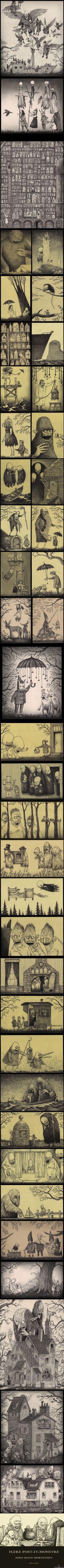 john kenn mortensen drawings on post-its