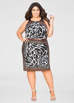 Blouson Animal Print Halter Dress