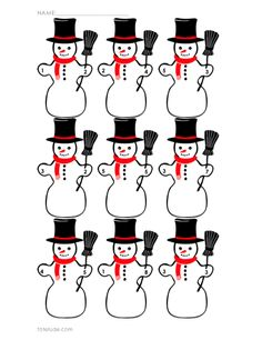 Snowmen Math Printables.  Find the sum, find the addend, or create your own!  http://totetude.com/blog/blog/snowman-math