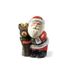 This recognizable Santa with Deer and Beads is embellished with clear beading to emphasis his silver fur and stands with his arm around his furry reindeer friend. This Chalkware figurine was created for Frontgate using a chocolate mould to cast it's shape.