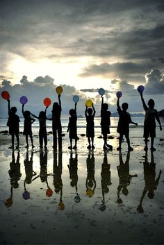 With Balloons at the Beach