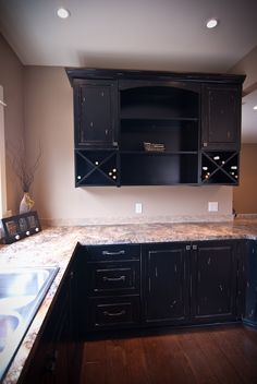 Cabinets with built-in wine rack for the kitchen