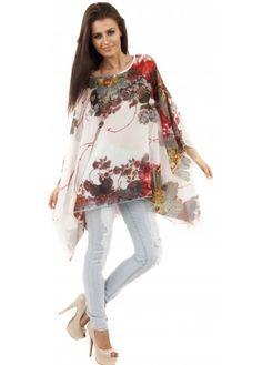 Floral Rose Print White Kaftan Tunic Top