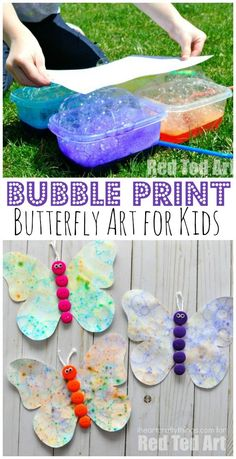 Bubble Blowing Art Butterfly Craft is part of Kids Crafts Butterfly Beautiful - Bubble blowing art is a great way to engage the kids with art this summer Then turn your artwork into a beautiful butterfly craft Fun summer kids craft Summer Crafts For Kids, Summer Kids, Spring Crafts, Projects For Kids, Diy For Kids, Craft Projects, Craft Ideas, Summer Art, Craft Art