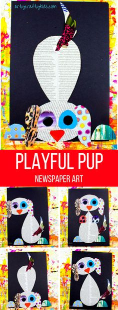Using recycled materials and free template, kids will love our Playful Pup Newspaper Art Project. Easy Arts And Crafts, Easy Crafts For Kids, Projects For Kids, Art For Kids, Art Projects, Art Children, Kid Art, Seashell Crafts, Sand Crafts