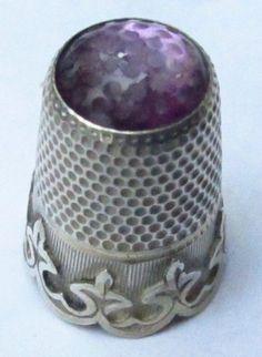 Glass thimble | Amethyst Glass & Silver Victorian Thimble NO RESERVE Vintage Antique