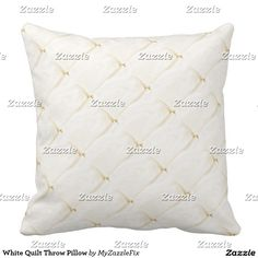 White Quilt Throw Pillow