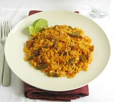 Turmeric and Saffron: Loobia Polow - Rice with Green Beans