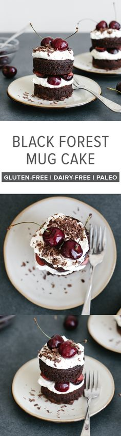 (gluten-free, dairy-free, paleo) This black forest mug cake is a mini black forest cake that takes less than 15 minutes to make!