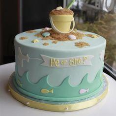beach themed gender reveal cakes   ... Philadelphia: Beach-themed Gender Reveal Cake   Whipped Bakeshop