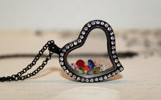 Beautiful Polished Black Heart Shaped Floating Locket with Crystals! Get Yours for Only $18 with Matching Chain!