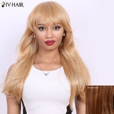 Long Full Bang Straight Real Natural Hair Siv Wig #>=#>=#>=#>=#> Click on the pin to check out discount price, color, size, shipping, etc. Save and like it!