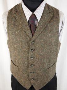"""Mens Brown Green Blended Tweed Wool Lapels Waistcoat Vest Chest 38-40"""""""