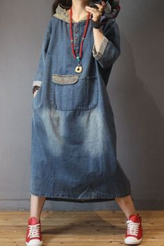 Buy Blue Fading Hooded Denim Dress Fashion Large Size Jeans Dress in Hooded Dresses online shop, Morimiss offers Hooded Dresses to make you feel comfortable Linen Shirt Dress, Jeans Dress, South African Traditional Dresses, Trendy Dresses, Fashion Dresses, Linen Dress Pattern, Dystopian Fashion, Hooded Dress, Cozy Fashion