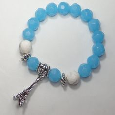 a781b3deb467 Women s Bracelet Light Blue-White Howlite Beads-Eiffel Tower Charm