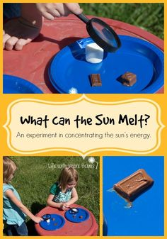 can the Sun Melt? An Experiment in Concentrating the Sun's Energy Life with Moore Babies: What can the Sun Melt? An Experiment in Concentrating the Sun's EnergyLife with Moore Babies: What can the Sun Melt? An Experiment in Concentrating the Sun's Energy Kid Science, 1st Grade Science, Summer Science, Science Activities For Kids, Kindergarten Science, Teaching Science, Preschool Activities, Science Week, Science Ideas