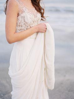 Romantic Seaside Wedding Ideas via oncewed.com #wedding #bride #dress #ivory #beaded #romantic #elegant #seaside